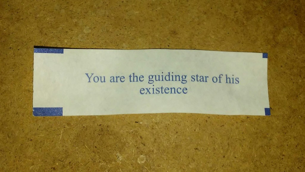 "My fortune cookie says, ""You are the guiding star of his existence""."