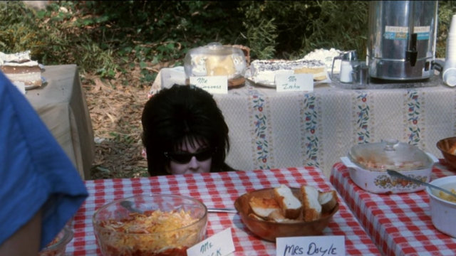 In weird contrast to the sunny scene, a pale woman in pointy sunglasses and a black wig (Elvira) peers up from behind a table at a small-town outdoor potluck.