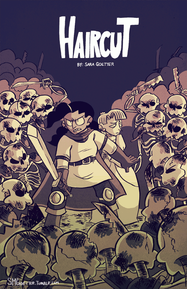 A swordswoman and a princess surrounded by a horde of walking skeletons, drawn in a cartoony style