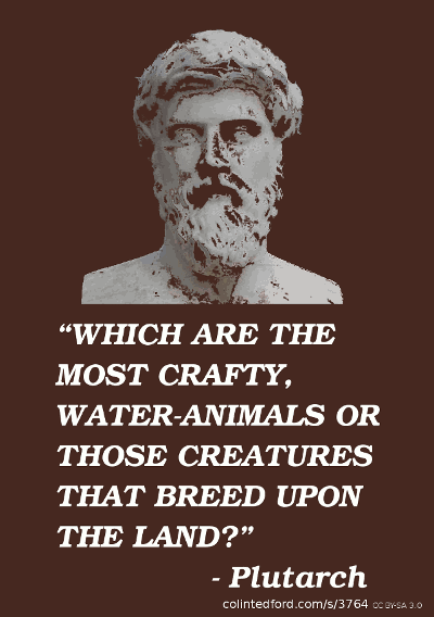 """WHICH ARE THE MOST CRAFTY, WATER-ANIMALS OR THOSE CREATURES THAT BREED UPON THE LAND?"" - Plutarch"