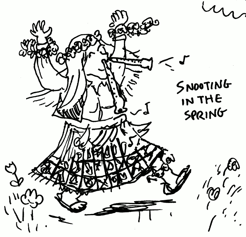 Snooting in the Spring, as you probably know, involves dancing around with recorders sticking out of your nostrils.