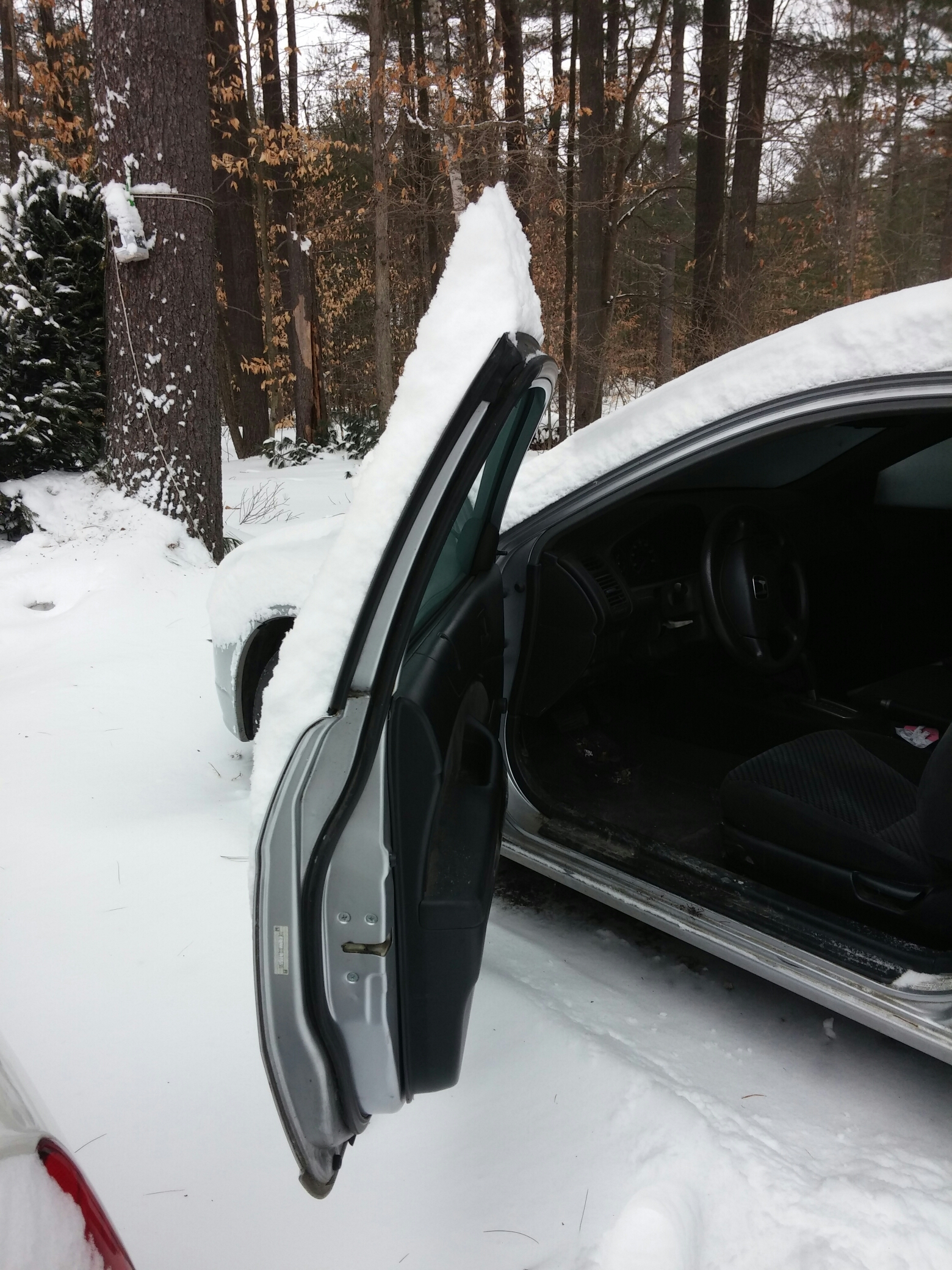An open car door with snow on it extending about five inches past the top